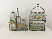 Vintage Cork Top Set Of Glass Pineapple Kitchen Spice Containers W Carry Racks
