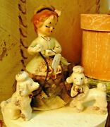 3 Pc Antique Porcelain Figurines Lady And 2 Poodles Made In Japan 1930's