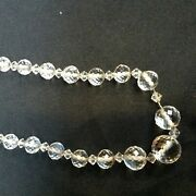 Vintage Hand Strung Graduated Faceted Crystal Bead Necklace 40 Cm