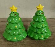 Ceramic Christmas Tree Pair Of 3.5 Salt And Pepper Shakers China Holiday Decor