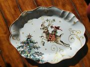New Williams Sonoma Twas The Night Reindeer Scalloped Oval Serving Platter