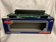 """✅atlas O Penn Central 52' 6"""" Flat Car And Pipe Load O Scale Train New York"""