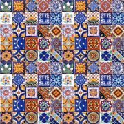 005 Set With 100 Mexican 2x2 Ceramic Tiles Handmade Handpainted Clay Tile