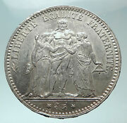 1875 A France Hercules Group Antique Genuine Silver 5 Franc French Coin I82192
