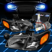 Fit 1997-2005 Chevy Venture/silhouette Headlight Lamps W/led Slim Style Black