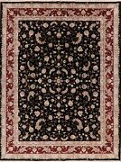 Wool/silk All-over Floral Black/burgundy Chinese Area Rug Hand-made Carpet 9x12