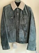 7,290 Tom Ford Shearling-trimmed Suede Down Trucker Jacket Olive It46 Small