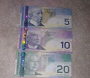 Canadian 20 10 5 Dollar Bill Paper Money Vf Xf Old Vintage Banknotes 1 Of Each