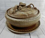 Handmade Wood Fired Ash Glazed Pottery Casserole Oven Dish Lid And Serving Tray