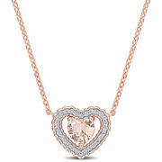 Amour Pink Silver Cz And Created Morganite Heart Necklace