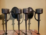 Antique Handmade Wrought Iron Candle Holders