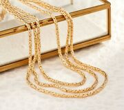 100 Long Round Byzantine Chain Necklace Lobster Clasp Real 14k Yellow Gold Qvc