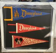 Framed Disneyland Pennants 1950s-60s Mickey Mouse Sleeping Beauty Unique Rare