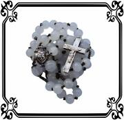 French Antique Opaline Beads And Sterling Silver Rosary Reliquary Christ And Mary