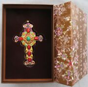 Jay Strongwater Jeweled Cross Glass Ornament Elements New In Box