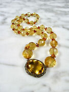 Victorian Faceted Citrine Large Round Bead Sterling Silver Necklace 268 Carats