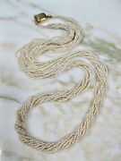 Antique Georgian Victorian Seed Pearl 10 Strand Necklace 14k Gold Box Clasp