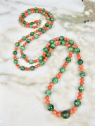 Antique Victorian Chinese Salmon Coral Green And039aand039 Jade Necklace 10k Gold Clasp