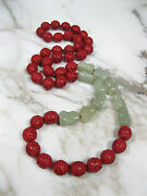 Vtg 37 Chinese Carved Red Cinnabar Celadon Green Jade Knuckle Bead Necklace