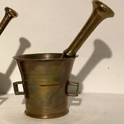 Antique Brass Morter And Pestle From The 1700/1800s About 120-320 Years Old.