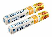2 Cling Film Food Wrap Strong Self Dispenser Wrapping 35 Metre Long X 35cm Wide