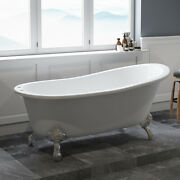 67 Cast Iron Clawfoot Bathtub With Deck Mount Faucet Holes