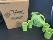 Post 86 Fiesta ☆ Chartreuse ☆ Disc Pitcher Set And Tumblers ☆ Dancing Lady Graphic