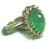 Test 14k Gold Ring W 4.5 Ct Natural Emerald And .35 Ct Diamonds 6.5 Grams
