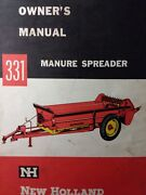 New Holland 331 Manure Spreader Farm Agricultural Tractor Owner And Service Manual
