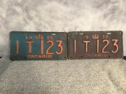 Vintage Ontario 1938 License Plates Pair Set 1t 123 Canada Cool It 123 Plate