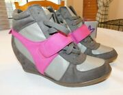 Lane Bryant Women's Ladies Shoes Size Variation Zinc Gray Pink Heal Sneakers New