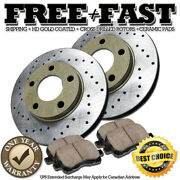 J0284 Fit 1997 1998 1999 Toyota Camry 4cylinder Front Drilled Rotors Pads Gold
