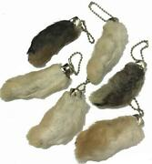 2 Natural Lucky Color Rabbit Foot Key Chain Real Rabbits Feet Authentic Keychain