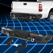 For 99-16 Ford F250 F350 Super Duty Steel Rear Step Bumper Face Bar+dual D-rings