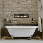 66 Cast Iron Double Ended Clawfoot Bathtub, Without Faucet Holes- Vernon