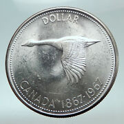 1967 Canada Canadian Confederation Founding With Goose Silver Dollar Coin I82100