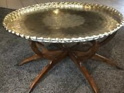 Antique Hand-stamp Brass Tray - Purchased 1960and039s In India - Diameter 39