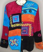 Allure Size Large Pink Blue Velour Jacket Embroidery Embellished Glass Buttons
