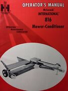 International Mccormick Ih Hay Mower Conditioner 816 Implement Owners Manual