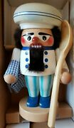 """Steinbach Wooden Nutcracker 10"""" Chef Cook With Spoon S1509"""