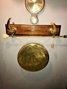 Antique Victorian Brass Dinner Gong With Wooden Plaque And Striker