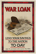 Original 1915 Poster Wwi War Loan Lend Your Savings To Nation Today 30x20
