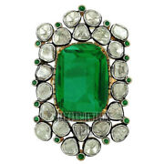Estate 3.49cts Antique Cut Diamond Emerald Studded Silver Cocktails Ring Jewelry