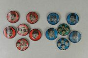 Lot Of 12 Red And Blue John Paul Ringo George Beatles Vari-vue Flicker Button Pins
