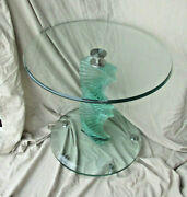 Glass Block Spiral Helix Side Table 1960s Era