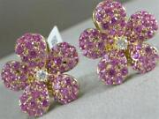 Modern Pave Puff Diamond Pink Sapphire 14k Y Gold Flower Stud Earrings E57199yp
