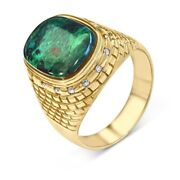 14k Yellow Gold And Diamond Western Wall Blue Green Eilat Stone Ring