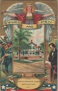 1909 Embossed Postcard Patriotic Sword And Pen Abraham Lincoln Home Ill. C2