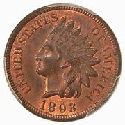 1893 1c Pcgs Ms 64 Rb Snow-6 Neat Indian Cent Repunched Date Variety