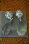 Authentic Crystal Silver Extra Large Xl Cc Logo Dangle Earrings Rare
